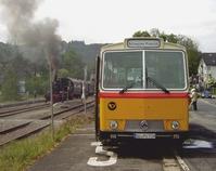 Oldtimer-Bus Saurer 3DUK-50 am Bahnhof Wiehl