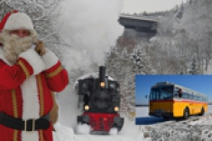 Sankt Nikolaus Dampfzug Nikolausfahrt Oldtimer Postbus / Postauto im Bergischen Land Xmas Tour also for Wedding Birthday Incentive Business