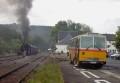 """Oldtimer-Postauto-Bus Saurer/Tüscher 3DUK-50 ex P-24660 von www.schwyzer-poschti.de mit Dampflok """"Waldbröl"""" am Bahnhof Wiehl (5.2011 - Foto: Schwyzer Poschti) - Wiehl / Dieringhausen / Schloss Homburg / Nümbrecht / Waldbröl / Denklingen / Bröltal"""
