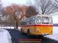 Oldtimer-Postauto-Bus Saurer/Tüscher 3DUK-50 ex P-24660 von www.schwyzer-poschti.de im Winter bei Siegburg (12.2012 - Foto: Schwyzer Poschti) - Sieg / Siegtal / Siegauen / Siegblick / Siegerland / Siegen